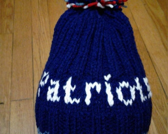 Hand Knitted Blue White Hat with pompom, fits age 6 to Adult