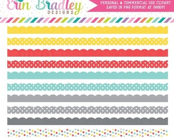 50% OFF SALE Colorful Scalloped Borders Clipart Commercial Use Clip Art Instant Download