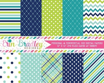 50% OFF SALE Digital Paper Pack Personal and Commercial Use Blue and Green Medley