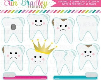 50% OFF SALE Dentist Clipart Tooth Teeth Clip Art Graphics with Cavities Braces Toothbrushes Instant Download Commercial Use