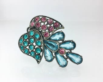 Art Deco Dress Clip, Rhinestone Jewelry, Vintage Pendant, Large Pink Blue Teal, 1920's 1930's Jewelry