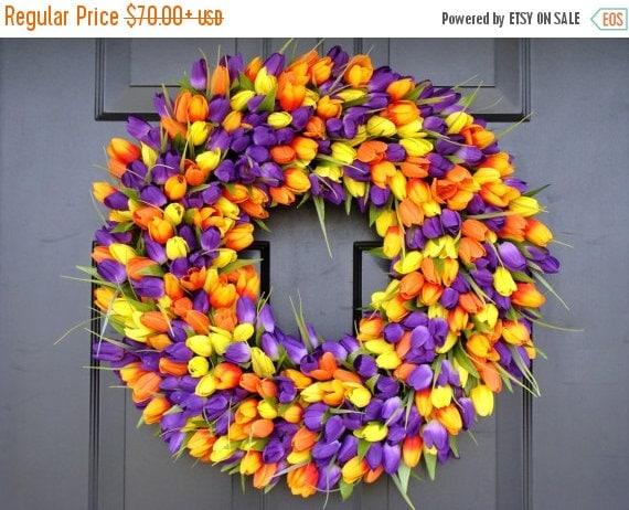 SPRING WREATH SALE Outdoor Decor- Spring Wreath- Tulip Wreath- Wall Decor - Etsy Wreath- Home Decor