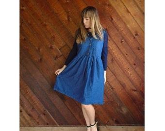 20% off SALE ... Quilted Denim Mini Babydoll Dress - Vintage 90s - MEDIUM