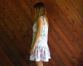 extra 30% off sale . . . Barbie Rose Printed Sleeveless Mini Dress - Vintage 80s 90s - MEDIUM