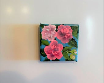 Hand Painted Rose Magnet , Decoration for Your Refrigerator , Kitchen or Office