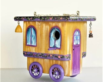 Golden Brown and Lavender Gypsy Wagon Birdhouse , Hand Made , Hand Painted , Unique , Original Design