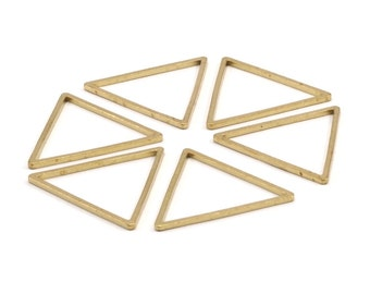 Brass Triangle Charm, 25 Raw Brass Open Triangle Ring Charms (29x1.2mm) D112