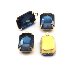 Sapphire Glass Setting, 4 Octagon Sapphire Glass Stones with 1 Loop Brass Prong Setting, Claw Settings (18x13mm) S601