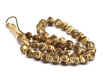 Bronze Prayer Beads, 33 PCS Camel Bone Rosary Beads (10mm) T080