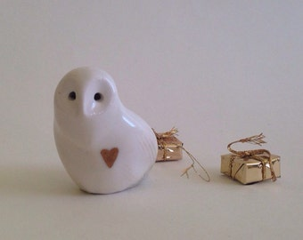 Snow owl, Owl, Gold heart, Porcelain Owl, Gold, by CreationM