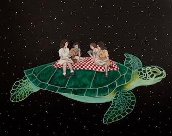 Teatime On A Space Turtle - Fine Art Print of Original Painting