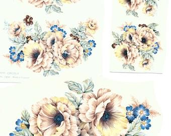 Floral Ceramic Vintage Decals - Bulk Lot