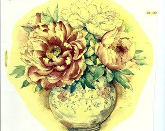 Ceramic Decal, floral, vintage, 1980's
