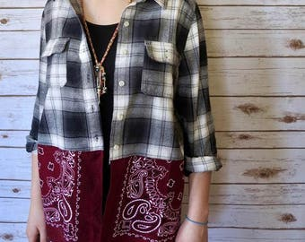 Black White Maroon Plaid Bandana Hem Button Up Blouse Lagenlook Hippie Boho Upcycled Recycled Shirt OOAK Bohemian Top Blouse Womens Medium