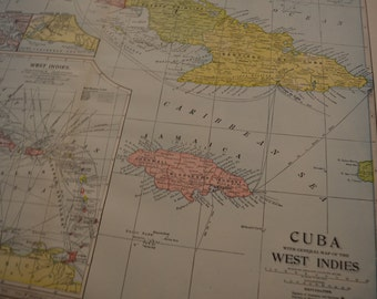 1904 LARGE Map Cuba and West Indies - Vintage Antique Map Great for Framing 100 Years Old