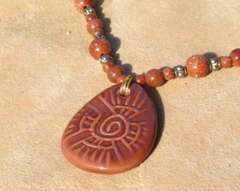Brown Goldstone Necklace with Large Pendant