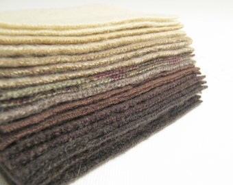 """Felted Cashmere Sweater Fabric Squares Eco-Friendly Wool Craft Fabric Bundle Felted Wool Destash Browns Tans Cream 20 - 4"""" x 4"""" Pieces 999"""
