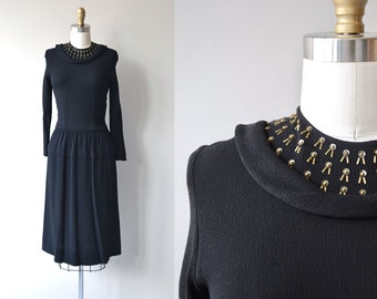 Sashet dress | vintage 1930s dress | brass studded 30s dress