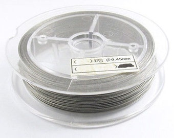 60M Beading Wire Jewelry Cord-Silver TIGER TAIL 0.45mm