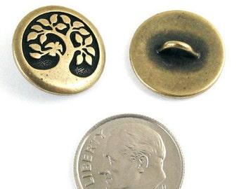 TierraCast Pewter Buttons-Brass Oxide BIRD in a TREE 17mm (2)