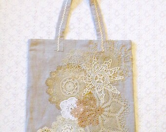 Vintage Lace Doilies Linen Shopping Tote Book Beach Bag