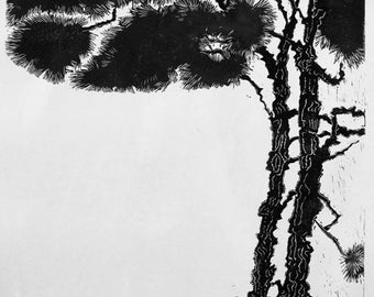 Florida Pines, B&W limited edition, hand printed, hand signed in pencil by the artist, linocut, new work