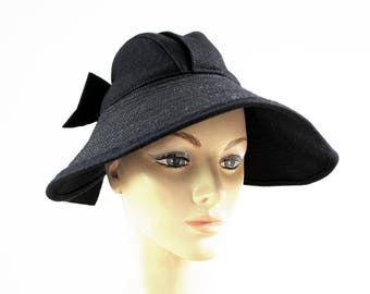 Vintage Madcaps of New York Original Design Black Felt Sun Hat with Open Top and Bow Back