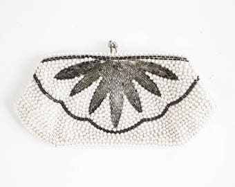 Vintage Silver and Cream Colored Beaded Art Deco Wallet Size Formal Retro Coin Purse