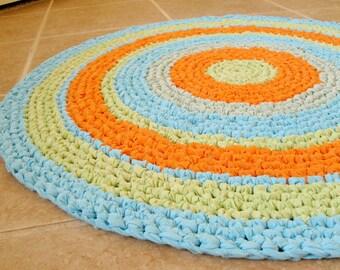 "Crochet round rag rug, mat, colorful, orange, lime, turquoise, southwest, beach, children, nursery, festive, cottage, eco, recycle, 27""."