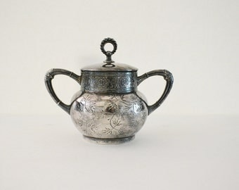 James W. Tufts Quadruple Silver Plate Sugar Bowl-Oranate-Beautiful Table Decor-Vintage Tableware On Sale