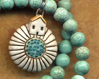 Daisy House Necklace, Turquoise Magnesite Necklace With House on the Daisy Pendant, Unique Home is Where the Heart is Necklace by Annaart72