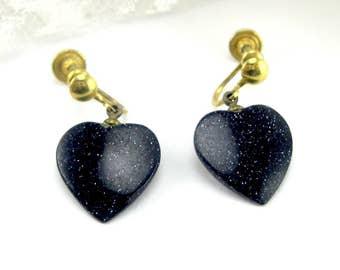 Earrings Midnight Blue Goldstone Heart