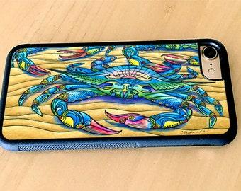 Blue Crabs, Crab Art, Rubber iPhone case iPhone 5/5s, iPhone 6/6s, iPhone 6 Plus, iPhone 7, iPhone 7 Plus