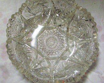 Vintage Imperial Glass Bowl Clear Cut Glass Bowl Wedding China Mid Century Serving Dish 1960s 60s
