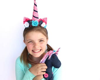 Girls Animal Headband and Stuffed Animal Play Set  - Unicorn- Headbands for Girls - Denim and Floral