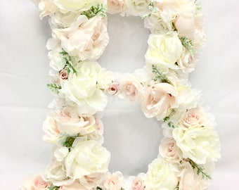 Floral hydrangea and multi-flower Monogram Letter Initial Wedding Door  Floral Wreath