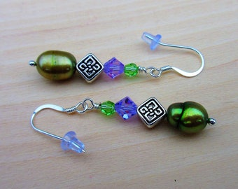 Celtic Purple and Green Crystal with Freshwater Pearl Earrings, Irish Earrings. Celtic Swarovski. Celtic Jewelry.