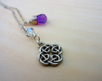 Celtic Knot Lariat. Beaded Lariat Necklace. Amethyst Gemstone Necklace. Celtic Jewelry.