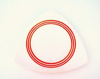 Salem Tricorne Creamsicle Platter: Atomic Art Deco Triangular Tray, White w/ Bright Orange Rings - Rare, Vintage Wedding China