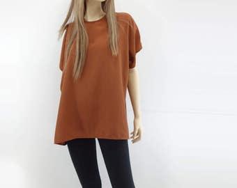 Oversize T Shirt Vintage 80s T Shirt Dolman Sleeve Top 80s Oversize Blouse 80s Dolman Tee Vintage 80s Blouse Burnt Orange Blouse s, m, l