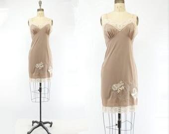 60s Nylon Slip Mocha Brown Slip Applique Nighty Beige Lace Slip 60s Slip Dress Nylon Jersey Slip 60s Beige Nighty  s