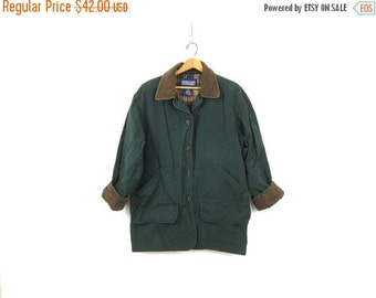 Vintage Dark Green Cotton Barn Coat Preppy Chore Jacket Ranch Coat Oversized Fall Parka Coat Corduroy Collar Women's Size Large