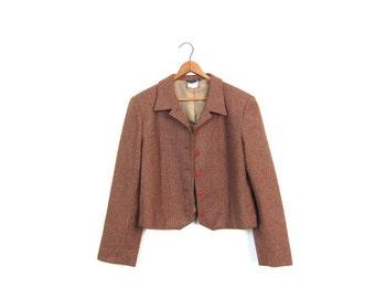 Vintage 70s Brown Wool Blazer Cropped Tweed Jacket Button Up Crop Blazer Jacket Preppy Fall Coat 1970s Modern Prep Jacket Womens Medium