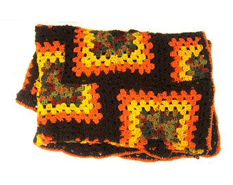 Retro 70s Afghan blanket throw Brown squares Orange & Yellow Earthy colors Vintage grandma home decor MOD Hipster Dorm blanket