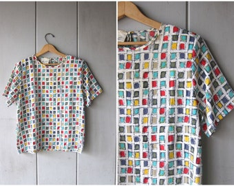 Vintage Printed Top Colorful TShirt 80s 90s Short Sleeve Boxy Blouse Paint Swatches Abstract Print Artsy Boho Tee Womens Medium