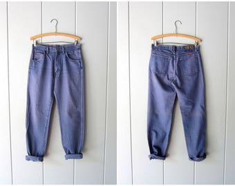 """80s Wrangler Boyfriend Jeans Straight Leg Pigment Dyed Blue Jeans DISTRESSED Vintage 70s High Rise Mens Work Jeans Hipster Womens 30"""" Waist"""