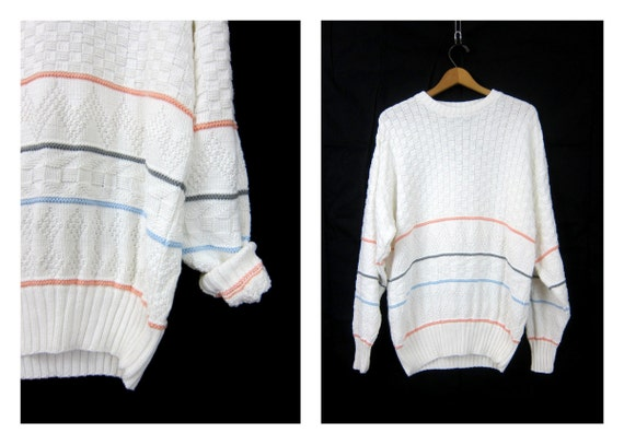 White Cotton Sweater Oversized Textured Knit Sweater Pinstriped Sweater Preppy Minimal Basic Jumper Sweater Top Size XL Extra Large