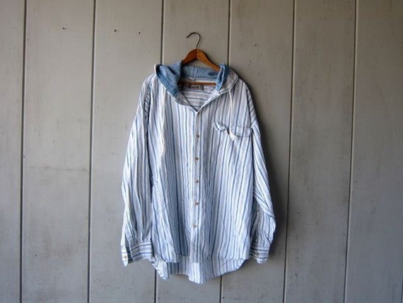 Striped Rugby Shirt Hooded Long Sleeve Shirt Jacket Cotton Hoodie White Blue Preppy Slouchy Pullover Shirt with Hood Vintage Mens Large