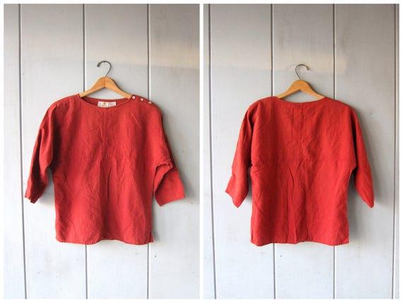 90s Linen & Cotton Blouse Burnt Orange Red Sand Top Quarter Sleeve Shirt Vintage Minimal Tee Slouchy Loose Fit Modern Top Womens Medium