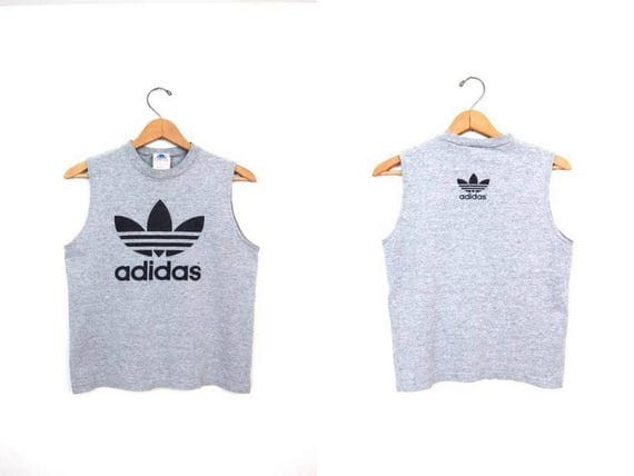 80s Adidas Trefoil Tank Top Vintage Adidas Crop Top Grey Cropped Tee Athletic Sporty Top Basic Sports Muscle Tank DES Womens Small Medium